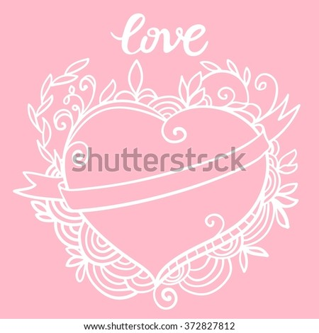 Sketchy Doodle Heart for Valentine's day. Template of Valentine's day poster, icon, Valentine's day greeting card, Valentine's day print and web projects. Raster version - stock photo