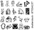 sketchy icons isolated on white background - stock photo
