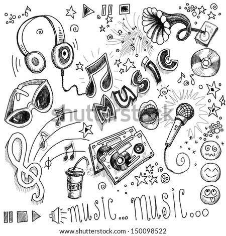 Sketchy music illustrations - stock photo