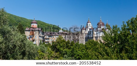 Skete of Aghios Andreas on Holy Mount Athos Panoramic shot - stock photo