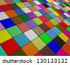 Skew multicolor floor fleeing to the horizon - stock vector