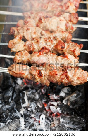 skewers with meat shish kebabs over burning coal close up - stock photo