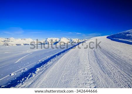 Ski - A ski trail, Thyon, 4 Valleys, Switzerland - stock photo