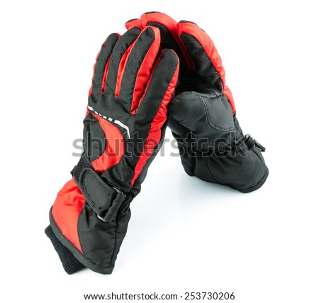 Ski black-and-red gloves isolated on white background - stock photo