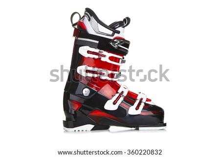 Ski boots isolated on white background. - stock photo
