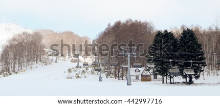 ski cable car station and winter scene