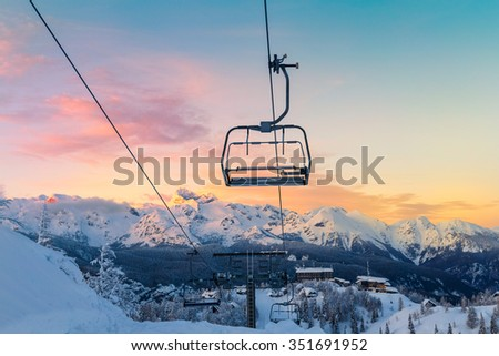 Ski center of Vogel, Triglav natural park, Julian Alps, Slovenia, Europe. - stock photo