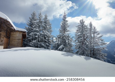 Ski chalet in the Austrian mountains - stock photo