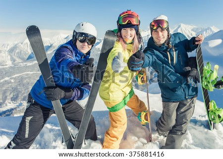 Ski. Funny male and female skier on Alps in Swiss. Fun! Cool! High mountain. Switzerland