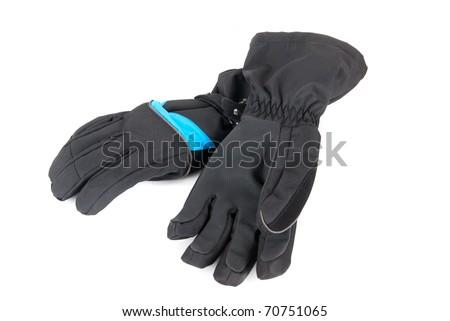 Ski gloves isolated on a white background - stock photo