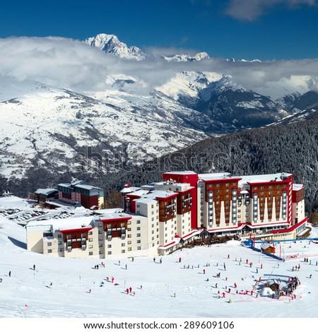 Ski Hotel, Alps, France - stock photo