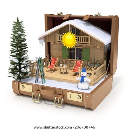 Ski hut in the case - stock photo