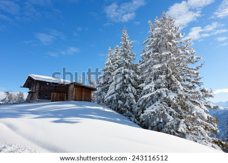 ski huts in winter forest - stock photo