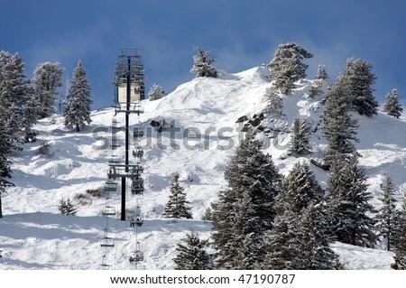 Ski lift, Bogus Basin Resort - stock photo