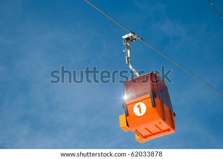 Ski lift cable way booth or car - stock photo
