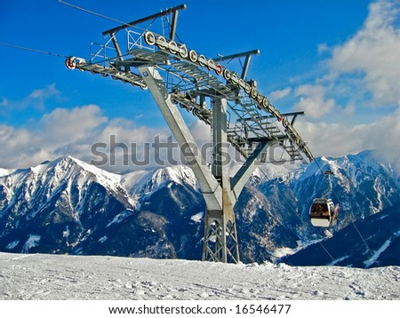 Ski lift in Alps - stock photo