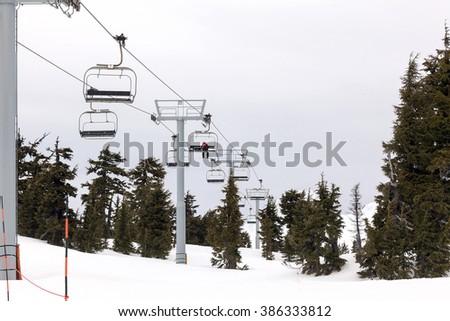 Ski Lifts at Mount Hood Ski Resort in Goverment Camp Oregon during winter skiing season - stock photo