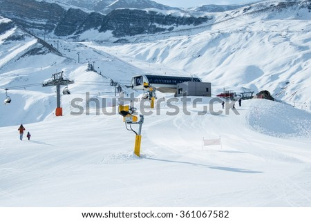 Ski lifts in Shahdag mountain skiing resort - stock photo