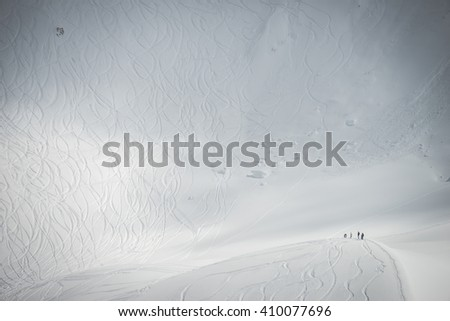 Ski lines in Whistler mountain's Symphony area - stock photo