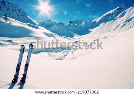 Ski on italian alps - stock photo