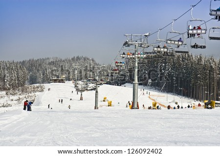 ski resort and lift in the photo - stock photo