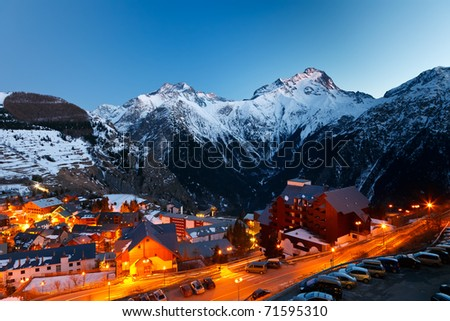 Ski resort at night - stock photo