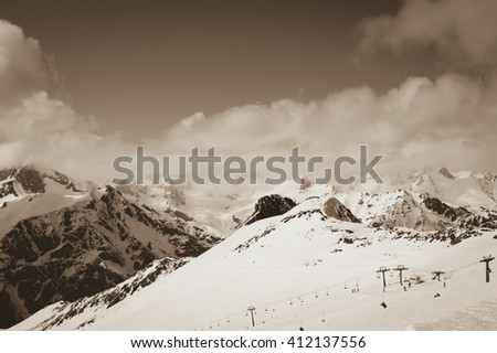 Ski resort. Caucasus Mountains, region Dombay. Toned landscape. - stock photo
