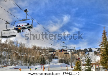 Ski resort in Snowmass near Aspen Colorado on a sunny day - stock photo