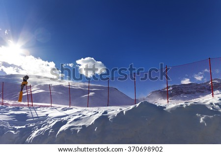 Ski resort in sunny day after snowfall. Greater Caucasus, Shahdagh. Qusar rayon of Azerbaijan. Wide angle view.