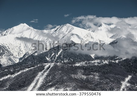 Ski resort, Krasnaya Polyana, Sochi, Russia - stock photo