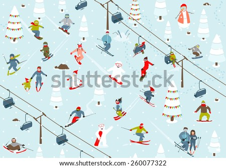Ski Resort Seamless Pattern with Snowboarders and Skiers. Mountain skiing background winter resort with people. Raster variant. - stock photo