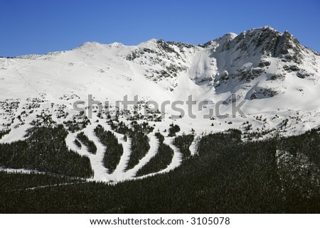 Ski resort trails on mountain in Whistler, British Columbia, Canada. - stock photo