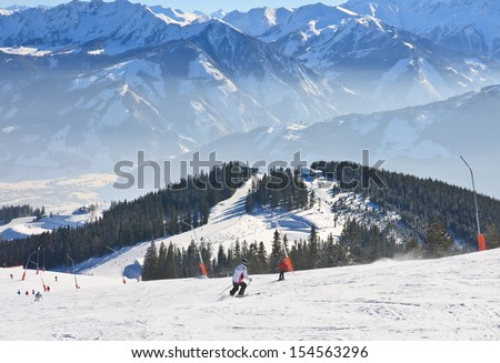 Ski resort Zell am See, Austrian Alps at winter - stock photo