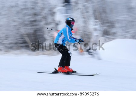 Ski rider in motion. Blurred back and sharp front at Windham mountain, NY