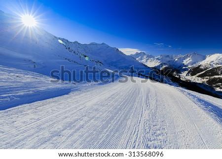 Ski run, 4 Valley Swiss Alps - stock photo