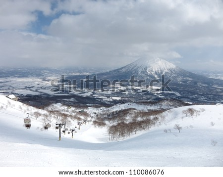 Ski runs in Hokkaido, Japan - Hirafu, Niseko and Mount Yotei - stock photo