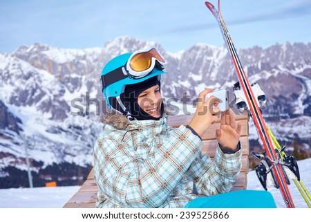 Ski, skier, winter - lovely girl photographed mountains - stock photo