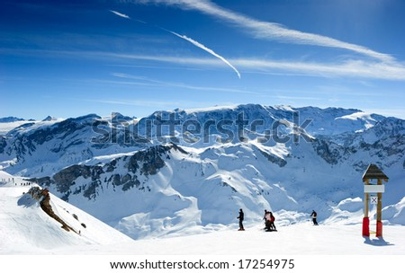 Ski slope in Meribel Valley, French Alps - stock photo