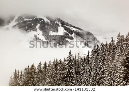 Ski Slope near Megeve in French Alps, France - stock photo