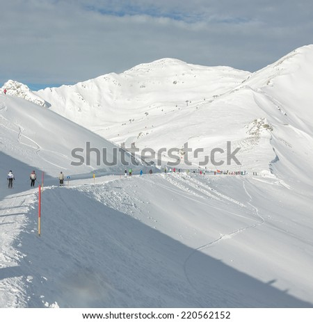 Ski slopes in a ski resort of a valley of the Zillertal - Mayrhofen, Austria - stock photo