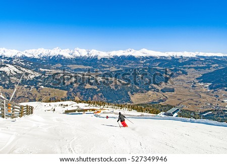 Ski slopes in Austria, Aineck resort and view of Mur valley (Murtal)