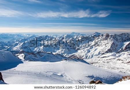 Ski slopes on the Matterhorn, view from the Klein Matterhorn - stock photo