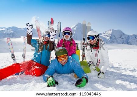 Ski, snow, sun and winter fun - stock photo