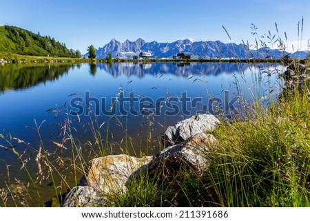 Ski station in high mountains Alps Austria - stock photo