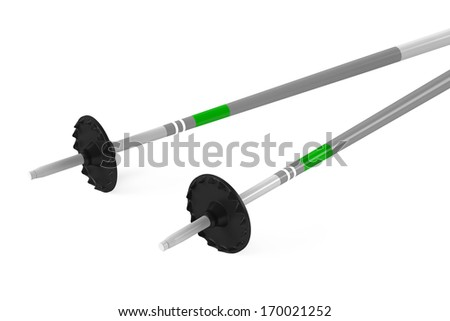 Ski sticks isolated - stock photo