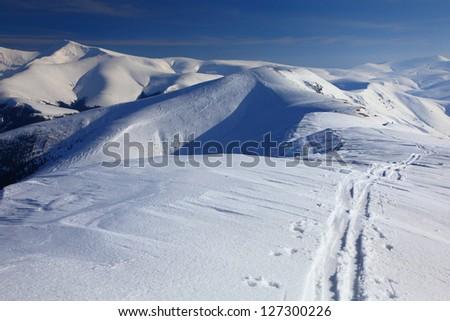 Ski traces left on the snow by backcountry skiers, Tarcu mountains, Romania - stock photo