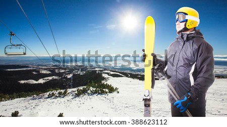 Ski track in High Tatras mountains. Frosty sunny day - stock photo