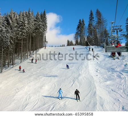 Ski track of Bukovel resort, Carpathian mountains, Ukraine - stock photo