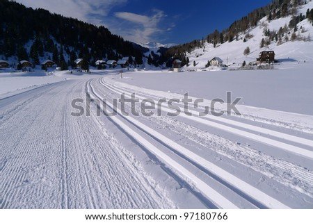 Ski tracks in the Austrian Alps