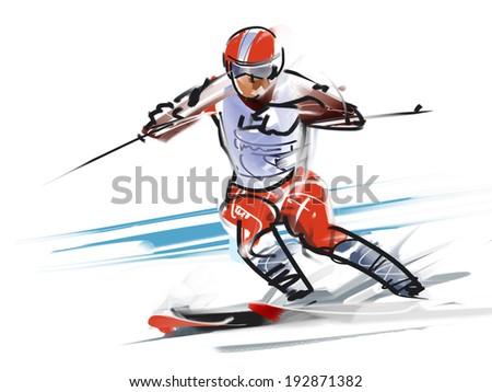 Ski, turn - stock photo